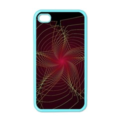 Fractal Red Star Isolated On Black Background Apple Iphone 4 Case (color) by Amaryn4rt