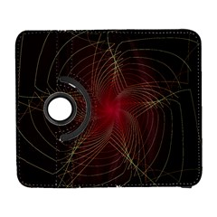 Fractal Red Star Isolated On Black Background Galaxy S3 (flip/folio) by Amaryn4rt