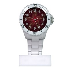 Fractal Red Star Isolated On Black Background Plastic Nurses Watch by Amaryn4rt