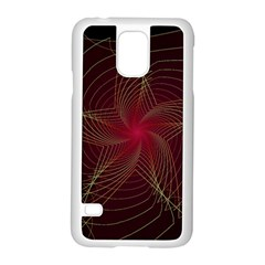 Fractal Red Star Isolated On Black Background Samsung Galaxy S5 Case (white) by Amaryn4rt