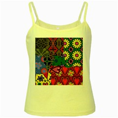 Digitally Created Abstract Patchwork Collage Pattern Yellow Spaghetti Tank