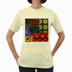 Digitally Created Abstract Patchwork Collage Pattern Women s Yellow T Shirt by Amaryn4rt