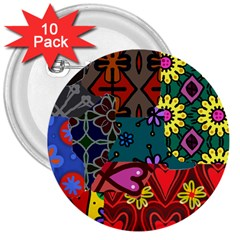 Digitally Created Abstract Patchwork Collage Pattern 3  Buttons (10 Pack)  by Amaryn4rt