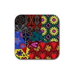 Digitally Created Abstract Patchwork Collage Pattern Rubber Square Coaster (4 Pack)  by Amaryn4rt