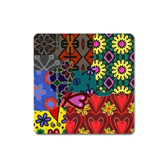 Digitally Created Abstract Patchwork Collage Pattern Square Magnet by Amaryn4rt