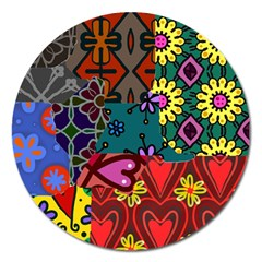 Digitally Created Abstract Patchwork Collage Pattern Magnet 5  (round) by Amaryn4rt