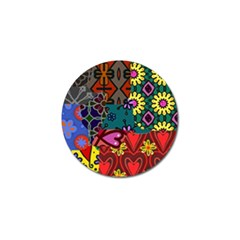 Digitally Created Abstract Patchwork Collage Pattern Golf Ball Marker (10 Pack) by Amaryn4rt