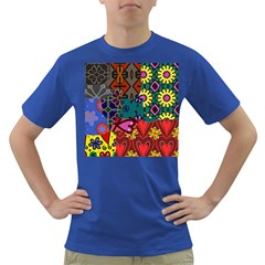 Digitally Created Abstract Patchwork Collage Pattern Dark T Shirt by Amaryn4rt