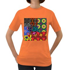 Digitally Created Abstract Patchwork Collage Pattern Women s Dark T Shirt by Amaryn4rt
