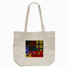 Digitally Created Abstract Patchwork Collage Pattern Tote Bag (cream) by Amaryn4rt