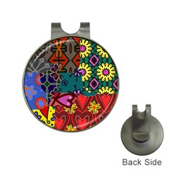 Digitally Created Abstract Patchwork Collage Pattern Hat Clips With Golf Markers by Amaryn4rt