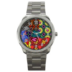 Digitally Created Abstract Patchwork Collage Pattern Sport Metal Watch by Amaryn4rt