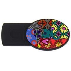 Digitally Created Abstract Patchwork Collage Pattern Usb Flash Drive Oval (4 Gb) by Amaryn4rt