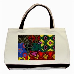 Digitally Created Abstract Patchwork Collage Pattern Basic Tote Bag by Amaryn4rt