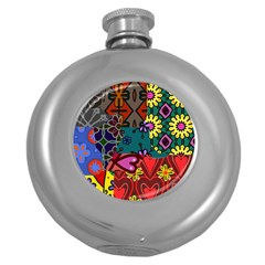 Digitally Created Abstract Patchwork Collage Pattern Round Hip Flask (5 Oz) by Amaryn4rt