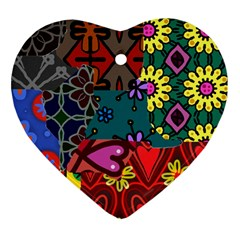 Digitally Created Abstract Patchwork Collage Pattern Heart Ornament (two Sides) by Amaryn4rt