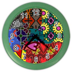 Digitally Created Abstract Patchwork Collage Pattern Color Wall Clocks by Amaryn4rt