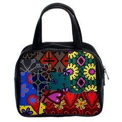 Digitally Created Abstract Patchwork Collage Pattern Classic Handbags (2 Sides) by Amaryn4rt