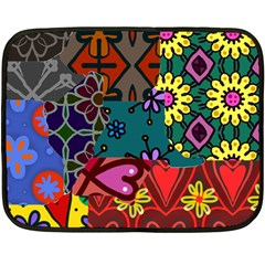 Digitally Created Abstract Patchwork Collage Pattern Double Sided Fleece Blanket (mini)  by Amaryn4rt