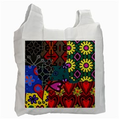 Digitally Created Abstract Patchwork Collage Pattern Recycle Bag (two Side)  by Amaryn4rt