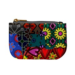 Digitally Created Abstract Patchwork Collage Pattern Mini Coin Purses by Amaryn4rt