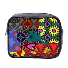Digitally Created Abstract Patchwork Collage Pattern Mini Toiletries Bag 2 Side by Amaryn4rt