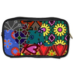 Digitally Created Abstract Patchwork Collage Pattern Toiletries Bags by Amaryn4rt