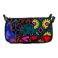 Digitally Created Abstract Patchwork Collage Pattern Shoulder Clutch Bags by Amaryn4rt