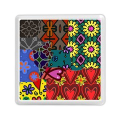 Digitally Created Abstract Patchwork Collage Pattern Memory Card Reader (square)  by Amaryn4rt