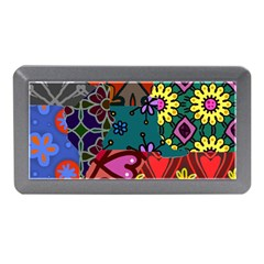 Digitally Created Abstract Patchwork Collage Pattern Memory Card Reader (mini) by Amaryn4rt