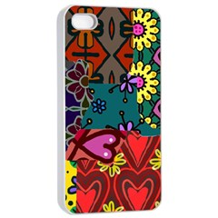Digitally Created Abstract Patchwork Collage Pattern Apple Iphone 4/4s Seamless Case (white) by Amaryn4rt