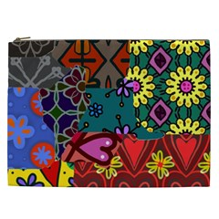 Digitally Created Abstract Patchwork Collage Pattern Cosmetic Bag (xxl)  by Amaryn4rt