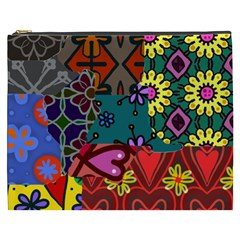 Digitally Created Abstract Patchwork Collage Pattern Cosmetic Bag (xxxl)  by Amaryn4rt