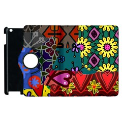 Digitally Created Abstract Patchwork Collage Pattern Apple Ipad 2 Flip 360 Case by Amaryn4rt