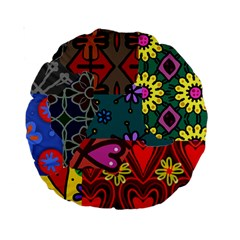 Digitally Created Abstract Patchwork Collage Pattern Standard 15  Premium Round Cushions by Amaryn4rt