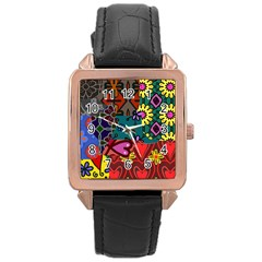 Digitally Created Abstract Patchwork Collage Pattern Rose Gold Leather Watch  by Amaryn4rt