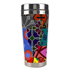 Digitally Created Abstract Patchwork Collage Pattern Stainless Steel Travel Tumblers by Amaryn4rt