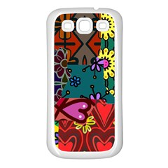 Digitally Created Abstract Patchwork Collage Pattern Samsung Galaxy S3 Back Case (white) by Amaryn4rt