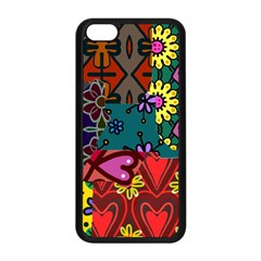 Digitally Created Abstract Patchwork Collage Pattern Apple Iphone 5c Seamless Case (black) by Amaryn4rt