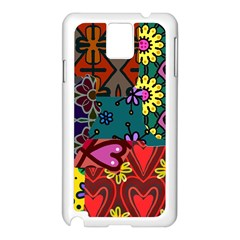Digitally Created Abstract Patchwork Collage Pattern Samsung Galaxy Note 3 N9005 Case (white) by Amaryn4rt