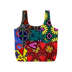 Digitally Created Abstract Patchwork Collage Pattern Full Print Recycle Bags (s)  by Amaryn4rt