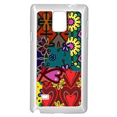 Digitally Created Abstract Patchwork Collage Pattern Samsung Galaxy Note 4 Case (white) by Amaryn4rt