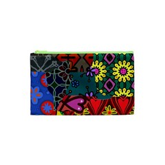 Digitally Created Abstract Patchwork Collage Pattern Cosmetic Bag (xs) by Amaryn4rt