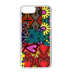 Digitally Created Abstract Patchwork Collage Pattern Apple Iphone 7 Plus White Seamless Case by Amaryn4rt