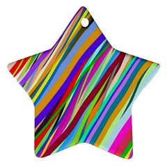 Multi Color Tangled Ribbons Background Wallpaper Ornament (star)