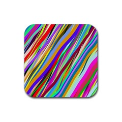 Multi Color Tangled Ribbons Background Wallpaper Rubber Square Coaster (4 Pack)  by Amaryn4rt