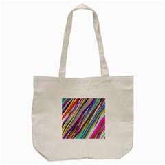 Multi Color Tangled Ribbons Background Wallpaper Tote Bag (cream)