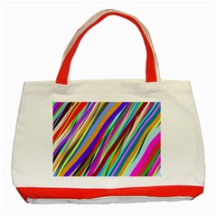 Multi Color Tangled Ribbons Background Wallpaper Classic Tote Bag (red) by Amaryn4rt