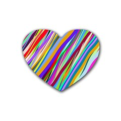 Multi Color Tangled Ribbons Background Wallpaper Rubber Coaster (heart)  by Amaryn4rt