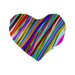 Multi Color Tangled Ribbons Background Wallpaper Standard 16  Premium Flano Heart Shape Cushions by Amaryn4rt